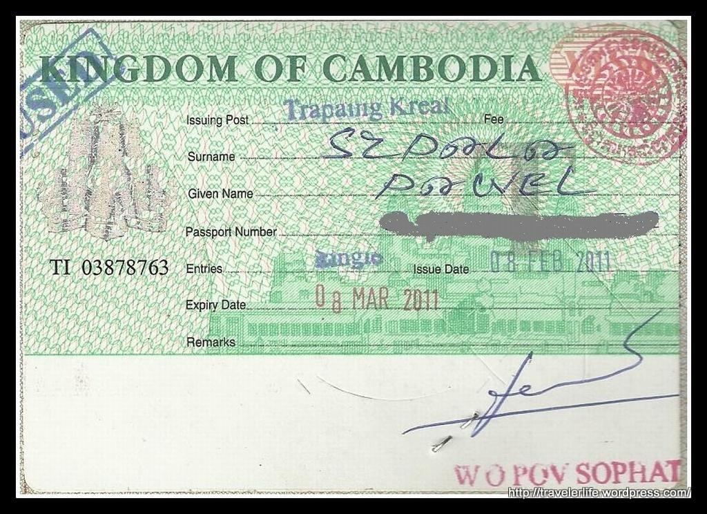 Tak oto prezentuje się Kambodżańska Wiza.
